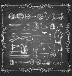 Drawn items for sewing on a chalkboard vector