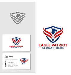 eagle bird logo template with business card design vector image