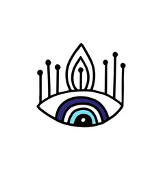 Evil eye symbol or icon in black and blue cartoon vector