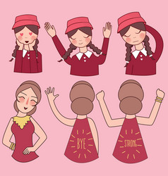Facial expressions set woman girl vector