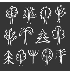 Fashion chalk sketches of trees vector