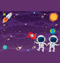 Frame template design with astronauts in spce vector