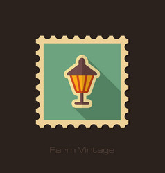 Garden lantern retro flat stamp with long shadow vector