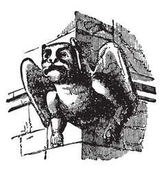 Gargoyle used for throwing water vintage engraving vector