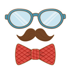Glasses with moustache and tie bow vector