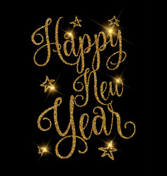 gold glittery happy new year design vector image