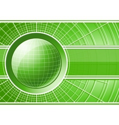Green background with globe vector image