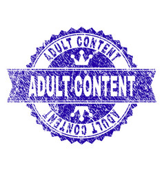Grunge textured adult content stamp seal with vector