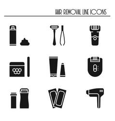 Hair removal methods silhouette icons set shaving vector