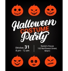 Halloween costume party hand written lettering vector
