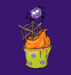 Halloween cupcake with chocolate spider webs and vector