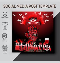 Halloween party post template design vector