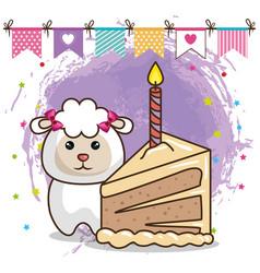 Happy birthday card with cute sheep vector