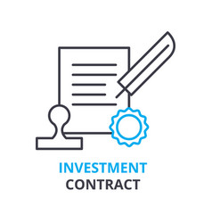 investment contract concept outline icon linear vector image