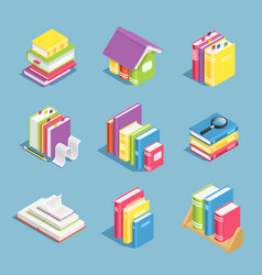 isometric books pile book open and closed vector image
