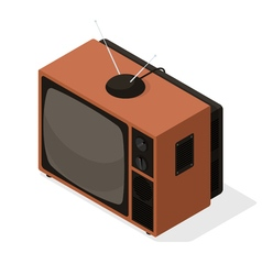 Isometric icon of retro television tv set with vector image