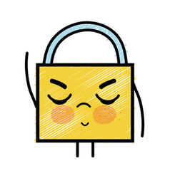 Kawaii cute angry padlock security vector