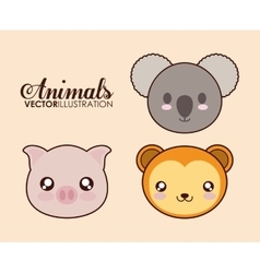 Kawaii pig koala and monkey icon graphic vector