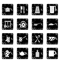 Kitchen tools and utensils set icons grunge style vector