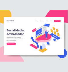 Landing page template of social media ambassador vector
