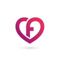 Letter f heart logo icon design template elements vector