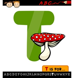 letter t with toadstool cartoon vector image