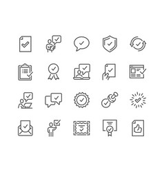 Line approve icons vector