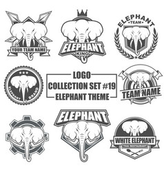 logo collection set with elephant theme vector image