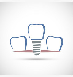 Logo dental implant isolated on white background vector