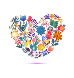 Love card with floral bouquet Valentines Day with vector image