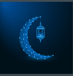 low poly islamic crescent with lantern vector image