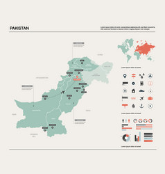 Map pakistan country map with division cities vector