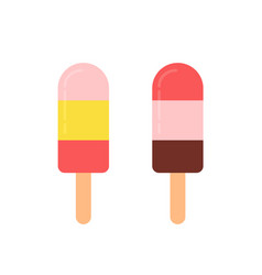 multicolored frozen popsicles flat icons vector image