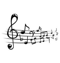 Musical notes staff background with lines vector