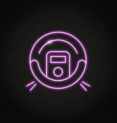 Neon robot vacuum cleaner icon in line style vector