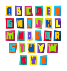 new font cut colorful letters upper case vector image