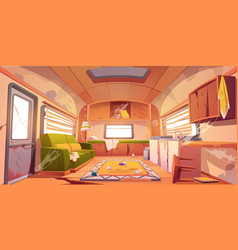 Old dirty interior camper with broken furniture vector