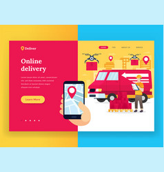 online delivery service landing page vector image