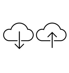 Outline cloud dowload and upload icon on white vector