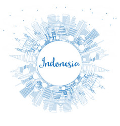 Outline indonesia cities skyline with blue vector