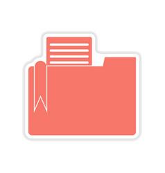 paper sticker on white background documents folder vector image