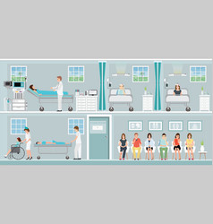 patients and doctor in hospital vector image