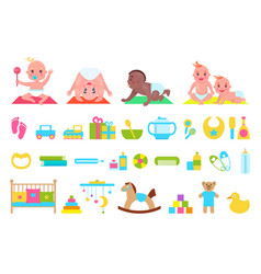 Playful children and toys set vector