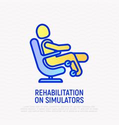 Rehabilitation on simulators thin line icon vector