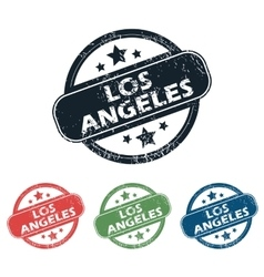 Round Los Angeles stamp set vector image