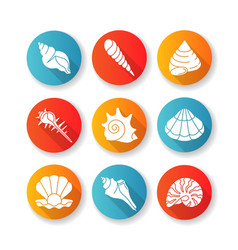Sea shells flat design long shadow glyph icons set vector