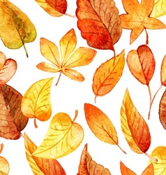 Seamless pattern autumn leaves watercolor vector