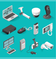 security system isometric isolated elements vector image