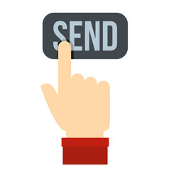 send button and hand icon isolated vector image