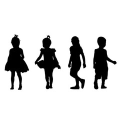 set kids silhouettes vector image